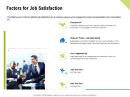 Factors For Job Satisfaction Fair Compensation Ppt Powerpoint Inspiration