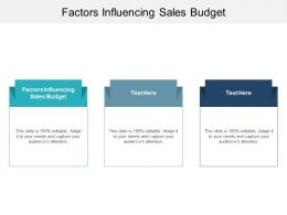 Factors Influencing Sales Budget Ppt Powerpoint Presentation Layouts Templates Cpb