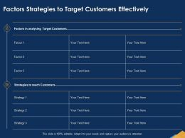 Factors Strategies To Target Customers Effectively Needs Ppt Powerpoint Presentation Maker