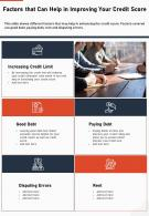 Factors That Can Help In Improving Your Credit Score Presentation Report Infographic PPT PDF Document