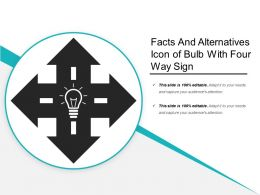 Facts And Alternatives Icon Of Bulb With Four Way Sign