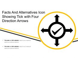 Facts And Alternatives Icon Showing Tick With Four Direction Arrows