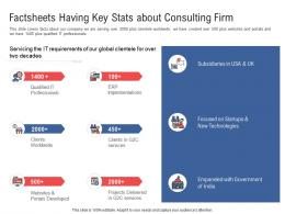 Factsheets Having Key Stats About Consulting Firm Electronic Government Processes Ppt Formats