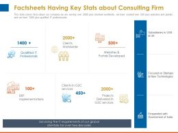 Factsheets Having Key Stats About Consulting Firm Portals Developed Ppt Model