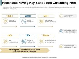 Factsheets Having Key Stats About Consulting Firm Portals Ppt Powerpoint Presentation Pictures Slides