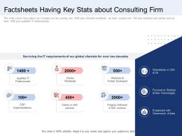 Factsheets Having Key Stats About Consulting Firm Ppt Layouts Show