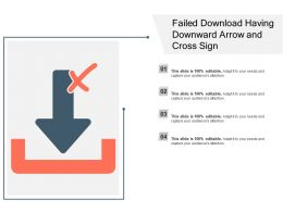 Failed Download Having Downward Arrow And Cross Sign