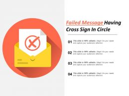 Failed Message Having Cross Sign In Circle