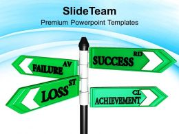 Failure Success And Achievement Business Signpost Powerpoint Templates Ppt Themes And Graphics 0313