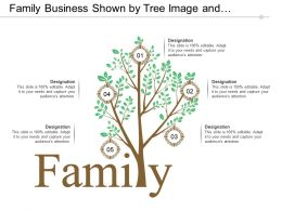 Family Business Shown By Tree Image And Circular Frames