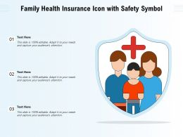 Family Health Insurance Icon With Safety Symbol