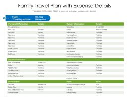 Family Travel Plan With Expense Details