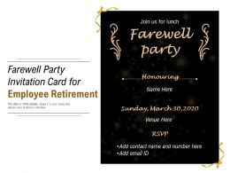 Farewell Party Invitation Card For Employee Retirement