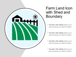 Farm Land Icon With Shed And Boundary