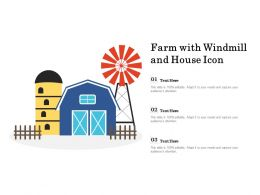 Farm With Windmill And House Icon