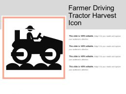Farmer Driving Tractor Harvest Icon