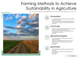 Farming Methods To Achieve Sustainability In Agriculture