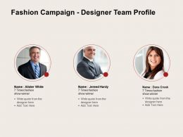 Fashion Campaign Designer Team Profile Ppt Powerpoint Presentation File Skills