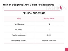 Fashion Designing Show Details For Sponsorship Powerpoint Presentation Gallery Rules