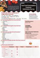 Fast Food Consumption Customer Satisfaction Survey Presentation Report Infographic PPT PDF Document