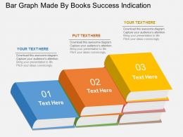 fb Bar Graph Made By Books Success Indication Flat Powerpoint Design