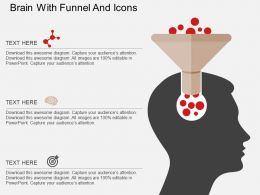 Fb Brain With Funnel And Icons Flat Powerpoint Design