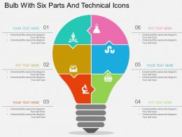 Fb Bulb With Six Parts And Technical Icons Flat Powerpoint Design