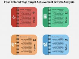 Fb Four Colored Tags Target Achievement Grwth Analysis Flat Powerpoint Design