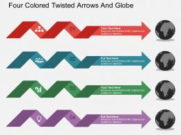 fb Four Colored Twisted Arrows And Globe Flat Powerpoint Design