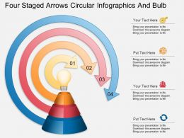 fb Four Staged Arrows Circular Infographics And Bulb Powerpoint Template