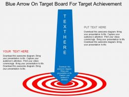 fc Blue Arrow On Target Board For Target Achievement Flat Powerpoint Design