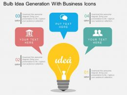 Fc Bulb Idea Generation With Business Icons Flat Powerpoint Design