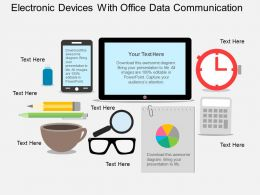 Fc Electronic Devices With Office Data Communication Flat Powerpoint Design