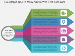 fc_five_staged_one_to_many_arrows_with_technical_icons_flat_powerpoint_design_Slide01