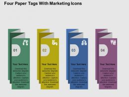 Fc Four Paper Tags With Marketing Icons Flat Powerpoint Design