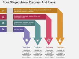 fc Four Staged Arrow Diagram And Icons Flat Powerpoint Design