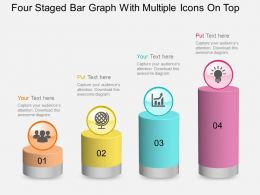 fc Four Staged Bar Graph With Multiple Icons On Top Powerpoint Template