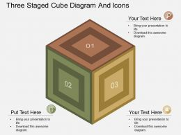 fc Three Staged Cube Diagram And Icons Flat Powerpoint Design