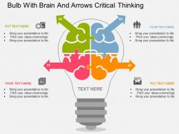 fd Bulb With Brain And Arrows Critical Thinking Flat Powerpoint Design