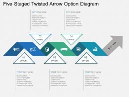 fd_five_staged_twisted_arrow_option_diagram_flat_powerpoint_design_Slide01