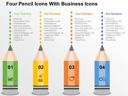 Fd Four Pencil Icons With Business Icons Flat Powerpoint Design