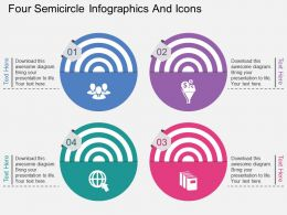 fd Four Semicircle Infographics And Icons Flat Powerpoint Design