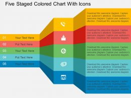 Fe Five Staged Colored Chart With Icons Flat Powerpoint Design