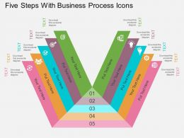 Fe Five Steps With Business Process Icons Flat Powerpoint Design