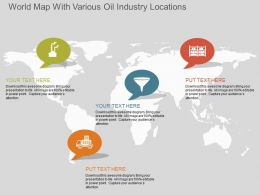 fe World Map With Various Oil Industry Locations Flat Powerpoint Design