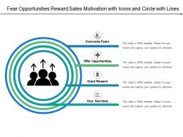 Fear Opportunities Reward Sales Motivation With Icons And Circle With Lines
