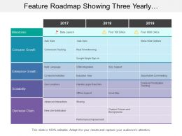 Feature Roadmap Showing Three Yearly Enterprise Growth Timeline