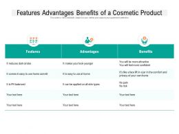 Features Advantages Benefits Of A Cosmetic Product