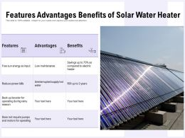 Features Advantages Benefits Of Solar Water Heater