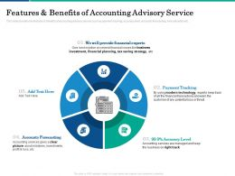 Features And Benefits Of Accounting Advisory Service Strategy Ppt Powerpoint Presentation Outfit
